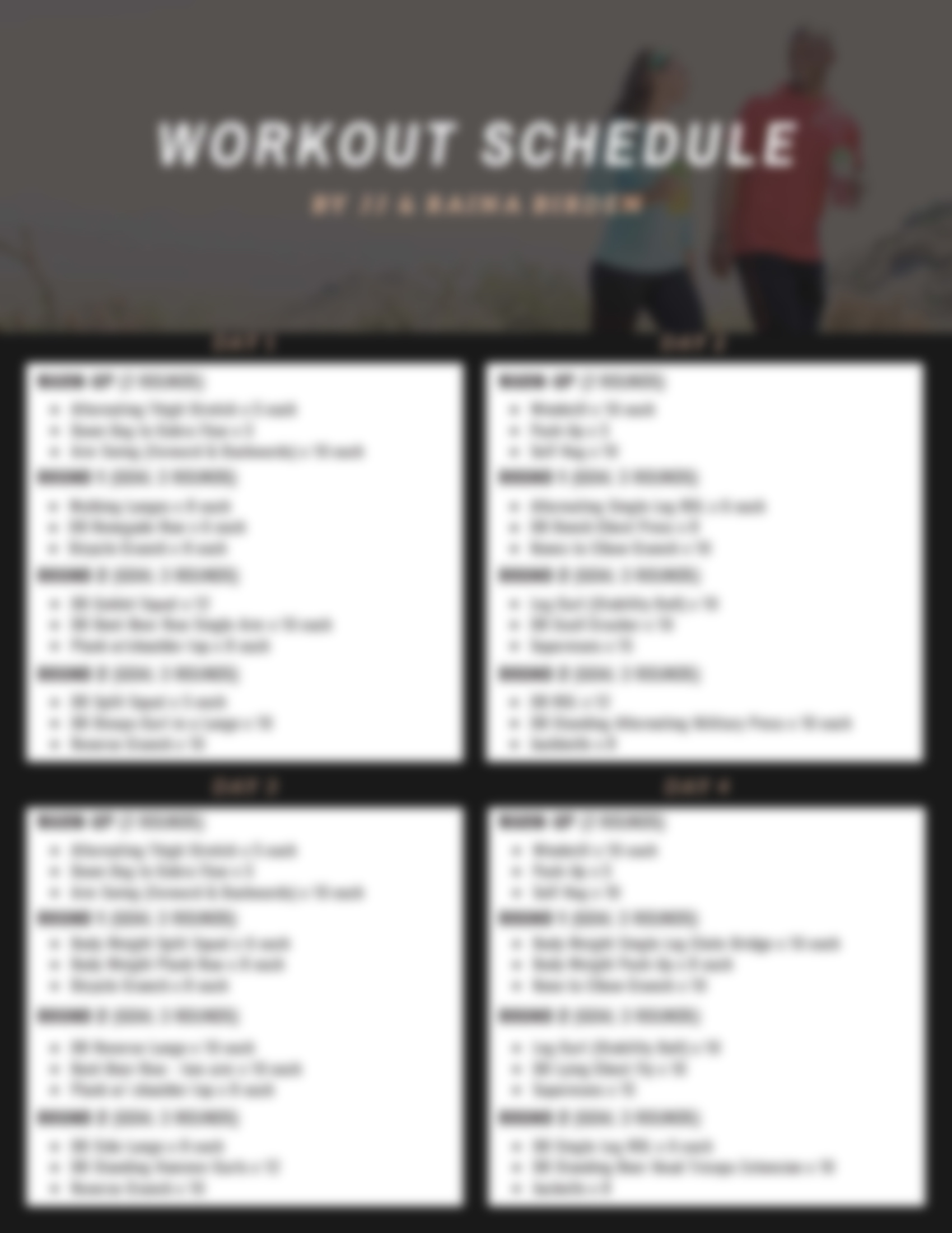JJ Birden Workout Schedule